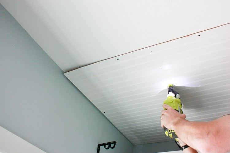 Nailing beadboard onto a ceiling