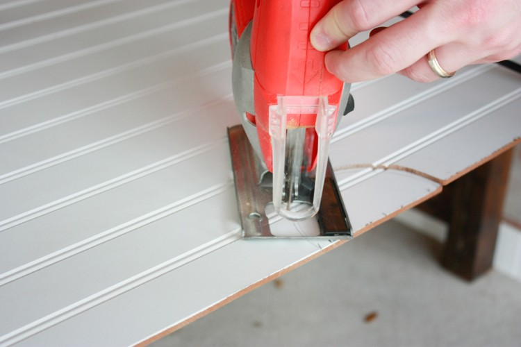 Cutting vent hole in beadboard for a DIY faux coffered ceiling