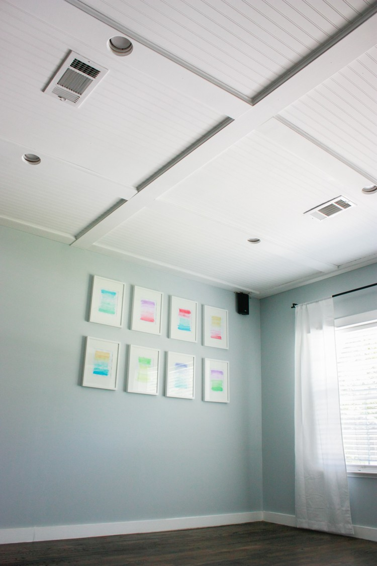 Faux Coffered Ceiling Using Beadboard and Moulding