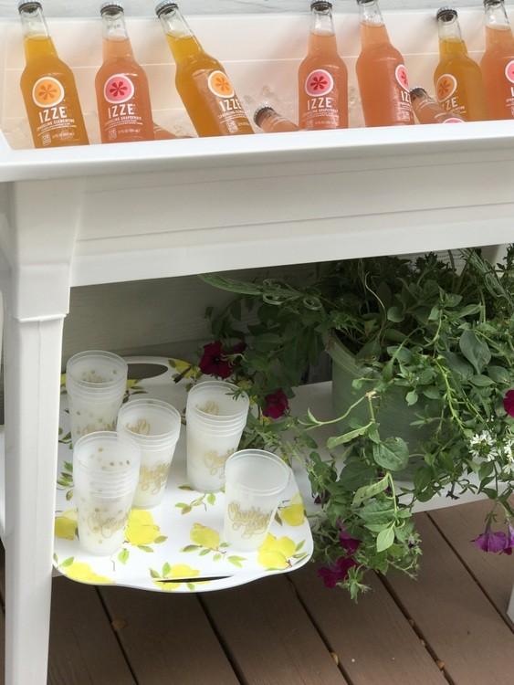 Planter used as outdoor beverage cooler