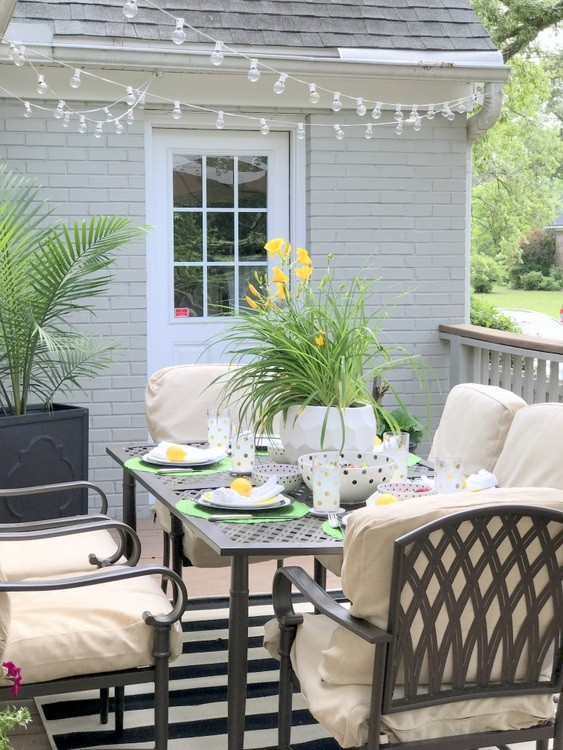 Cream-Colored Patio Haven for Entertaining