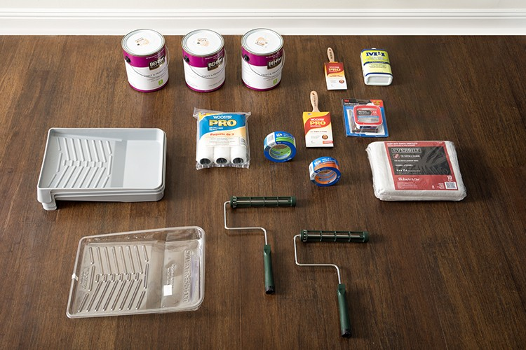 Materials needed for ombre wall paint project