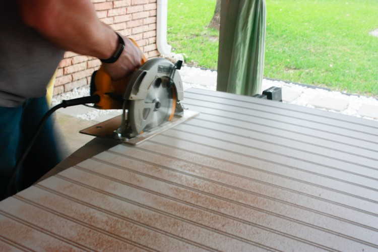 Cutting beadboard to create a faux coffered ceiling