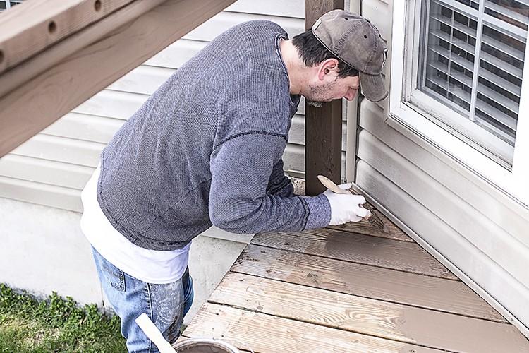 Applying BERH's DeckOver wood coating