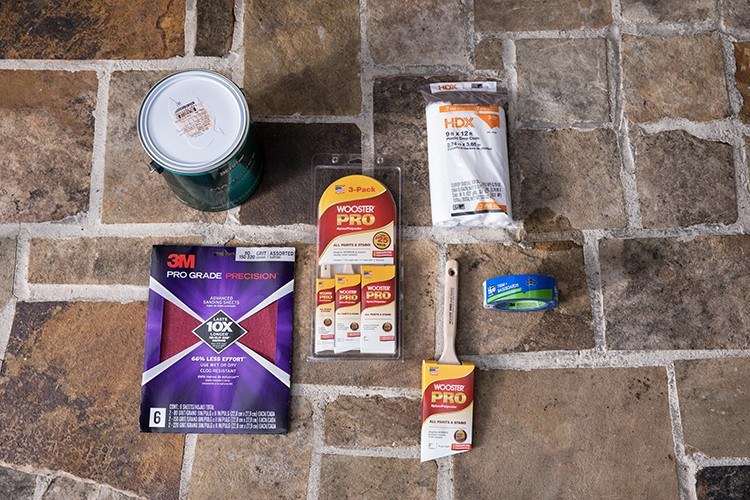 Materials needed to prep and paint a front door