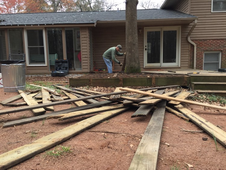 Tearing out an old backyard deck