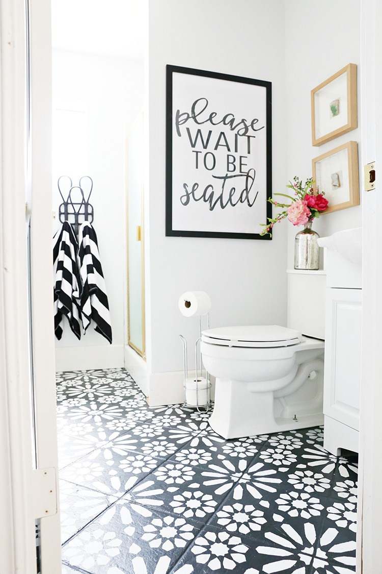 DIY Painted Stencil Bathroom Floor