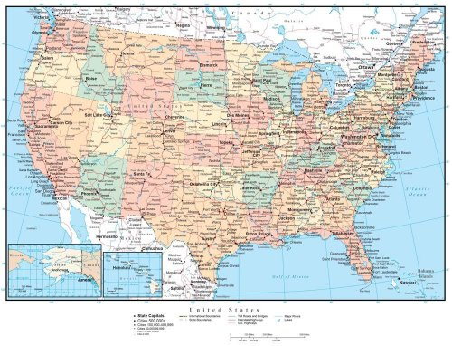 Map Wall Decals – United States of America Political Map – Usa Map ...