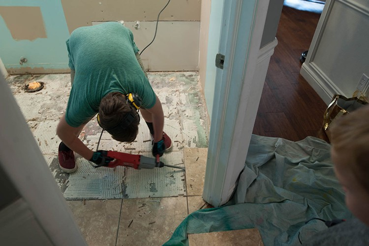 Ripping out bathroom tile