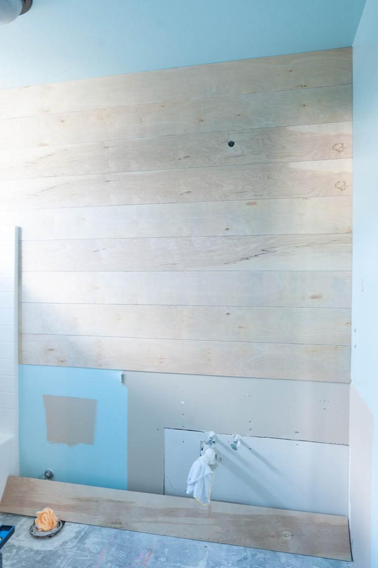 Adding shiplap to a bathroom wall