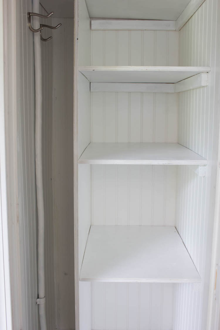 Water Heater Closet Turned Into Open Shelved Pantry