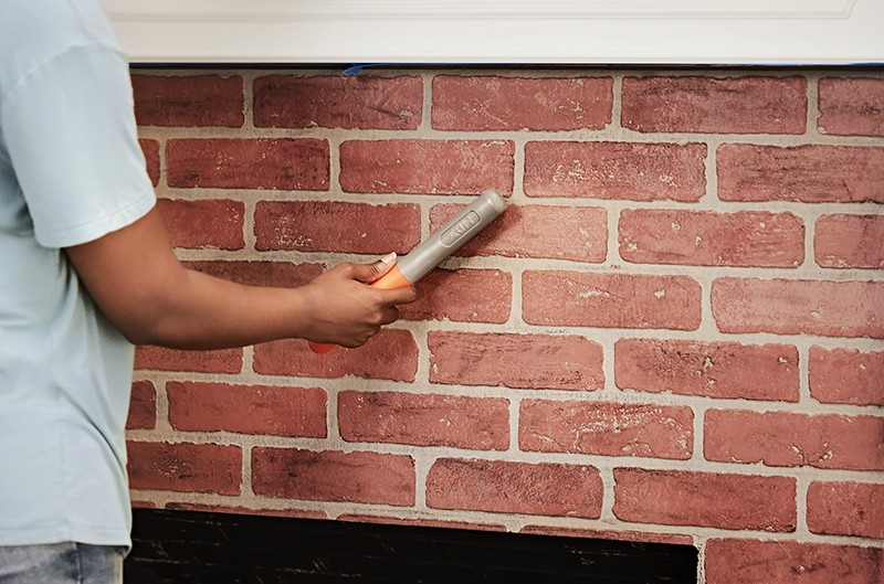 How To Paint Your Fireplace - Scrub the Brick