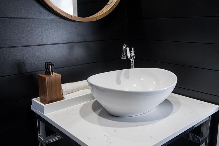 Create a Modern Powder Room Using Black Shiplap