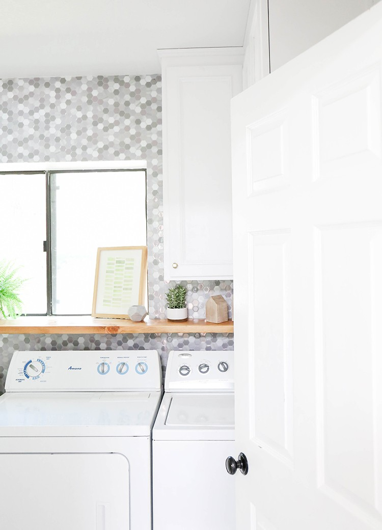 Laundry room tile makeover with smart tiles home improvement blogs ready to try out these peel and stick backsplash smart tiles for yourself find other peel and stick backsplash tiles by smart tiles at the home depot solutioingenieria Gallery