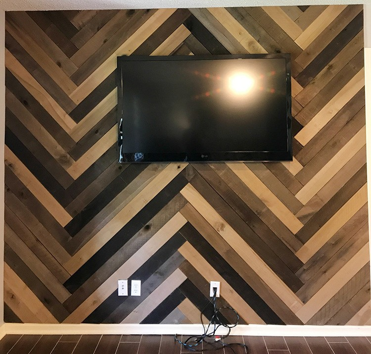 How to Install a Barn Wood Accent Wall in Herringbone Pattern