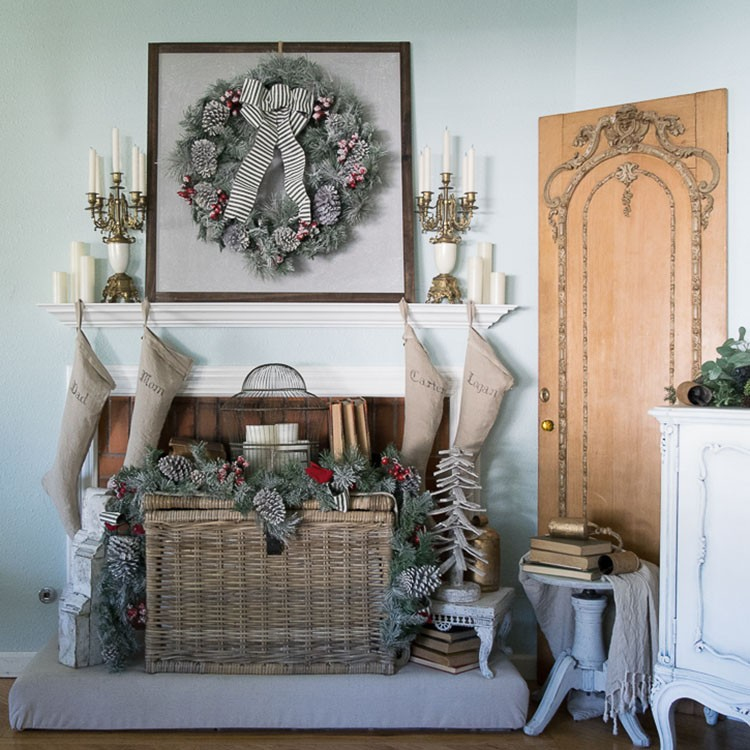 Festive Holiday Mantel with Vintage Accents and Christmas Decor