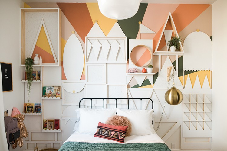 Create a Custom Statement Wall by Mixing Paint, Wood & Wallpaper