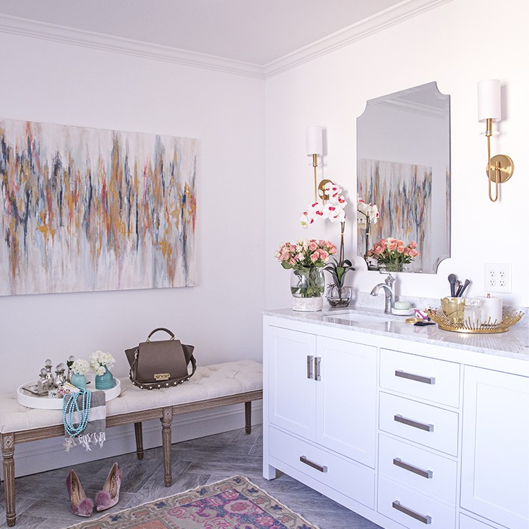 Master Bath Makeover with Colorful Accessories