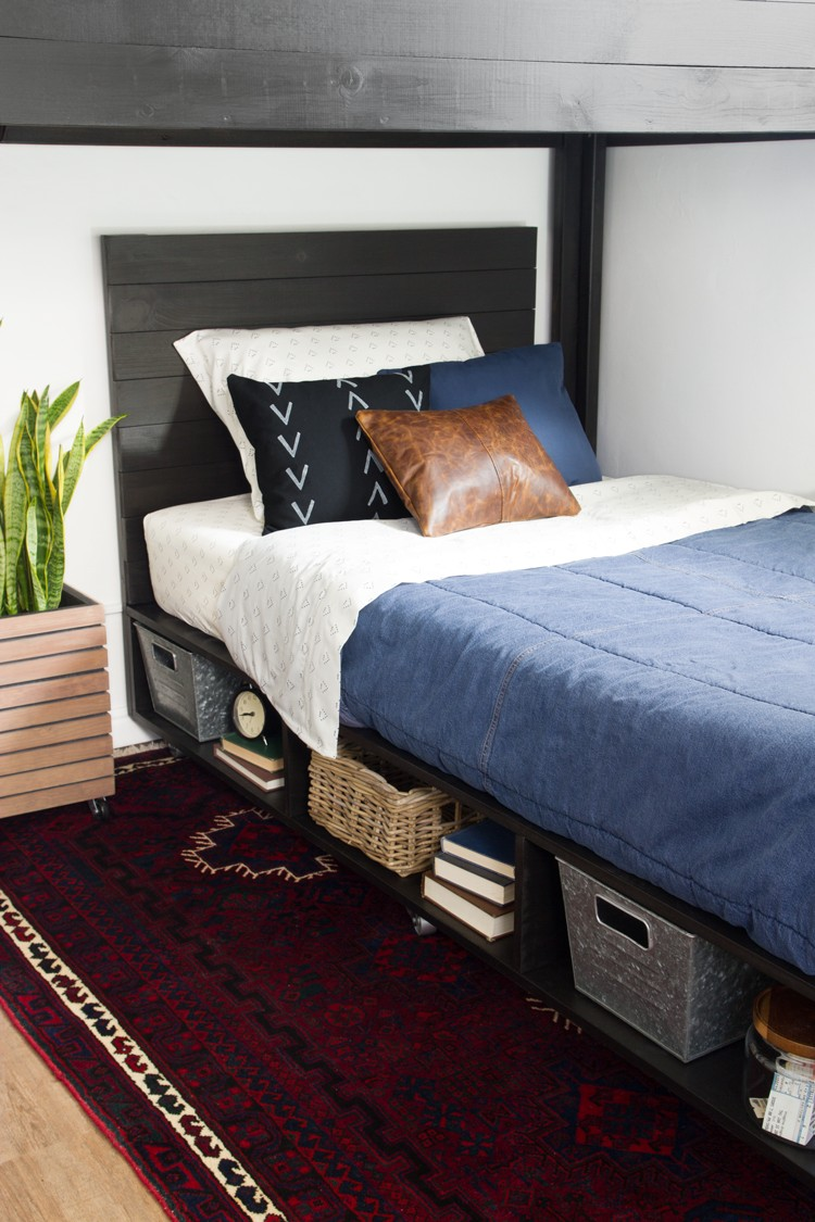 DIY Modern Bed with Storage