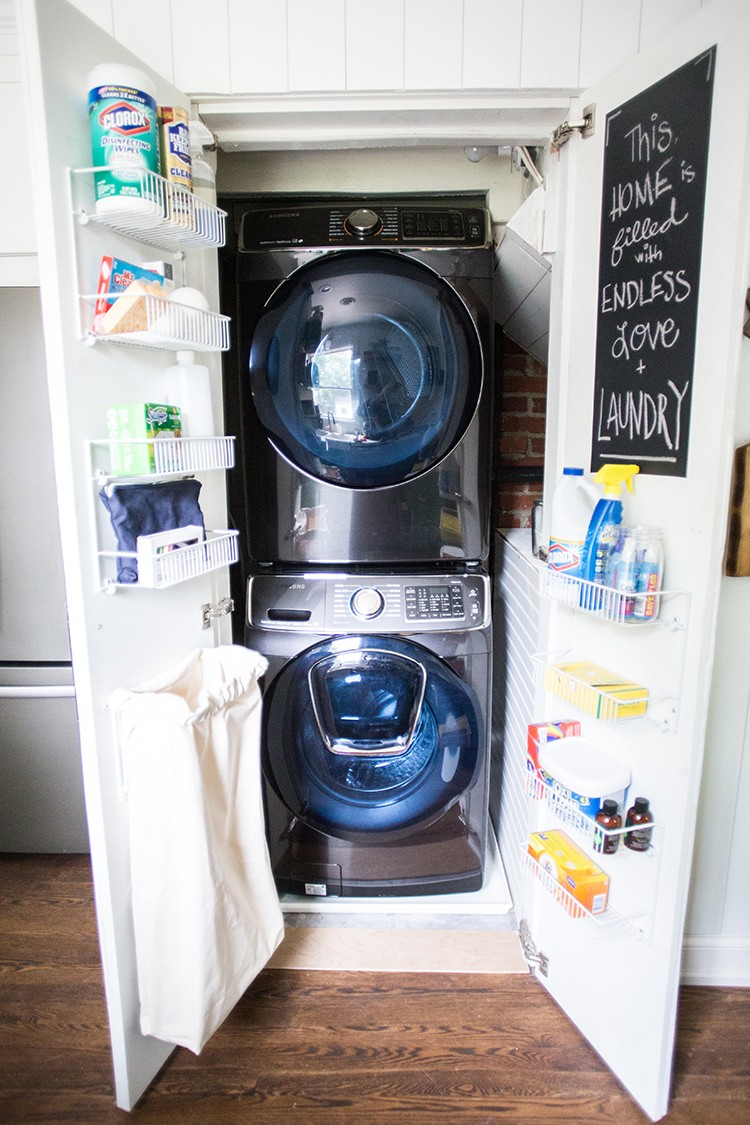 See how blogger Miranda Anderson from Live Free Creative Co. transforms her small laundry room closet space with the help of Samsung appliances.