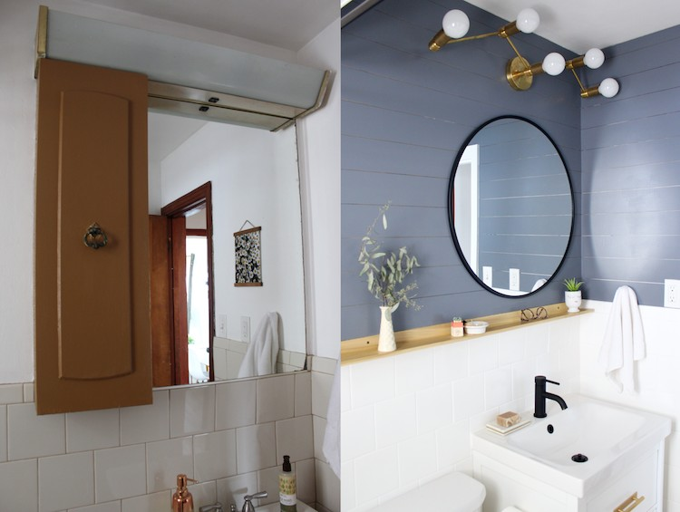 Small Bathroom Makeover With Painted Tile And Painted Floors