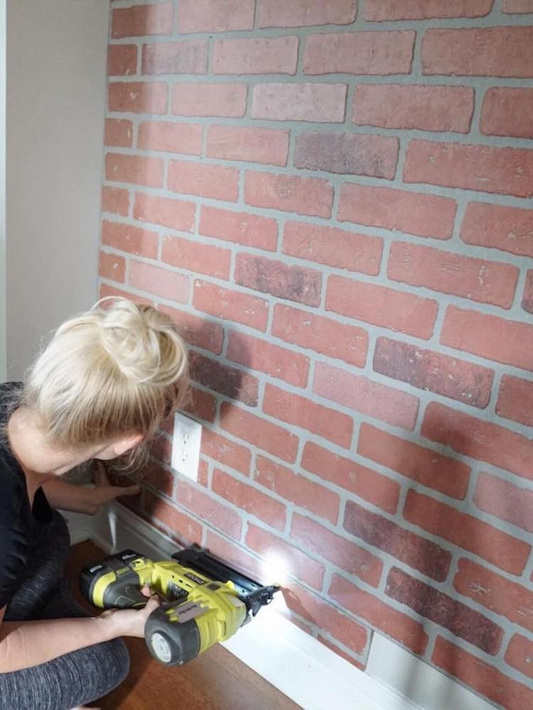 DIY Faux Whitewashed Brick Accent Wall